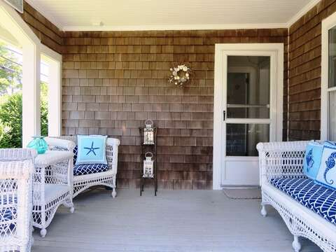 Walk out the front door to a cozy porch!  388 Main Street (The Priscilla House) Chatham Cape Cod New England Vacation Rentals