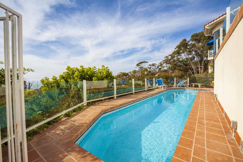 Take laps in the heated pool while enjoying the beautiful scenery