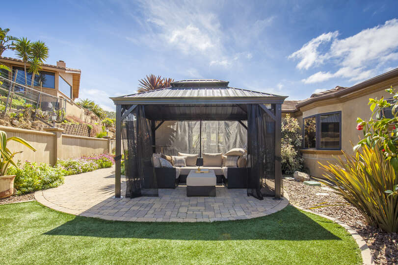 Charming gazebo on the side yard
