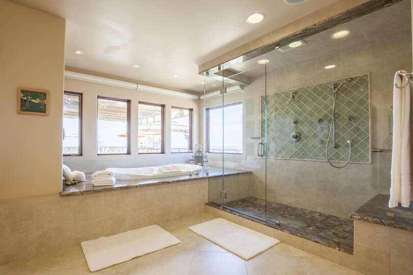 Spacious master bathroom with huge shower