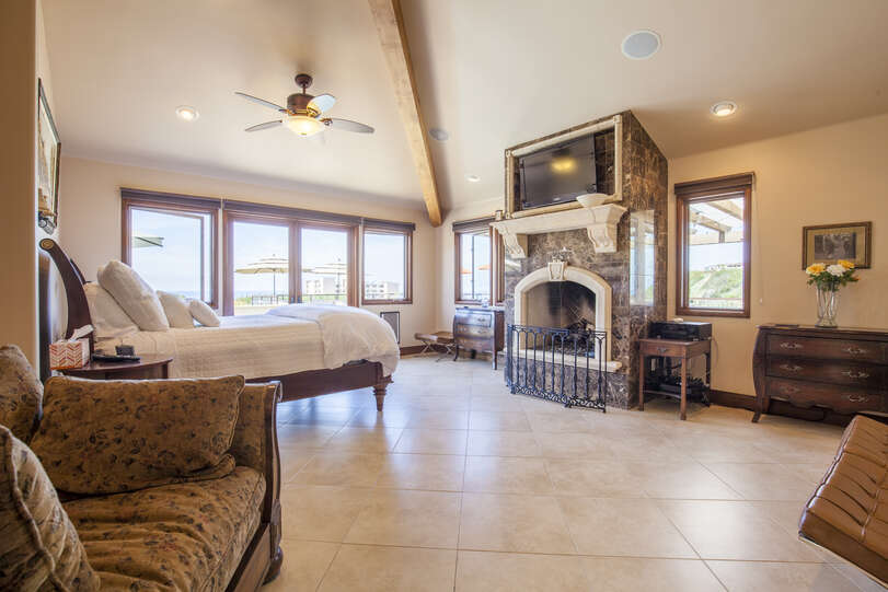 Beautiful master bedroom with patio access