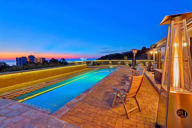 Salt water lap pool with ocean views and spectacular sunsets