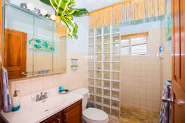 walk in glass block shower for that after beach rinse.