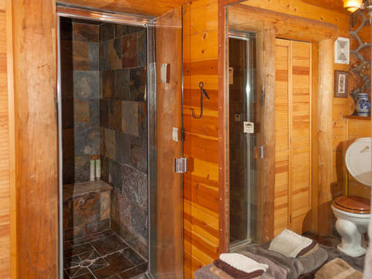 Downstairs guest bathroom with slate-lined steam shower