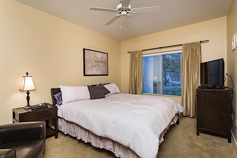 Master bedroom - King sized bed and flat screen TV