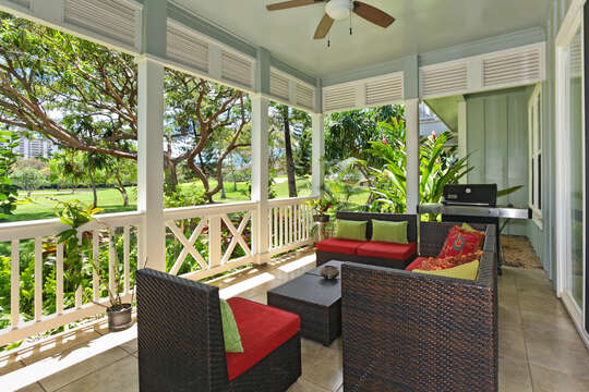 A View of the Lanai with the Barbecue Grill