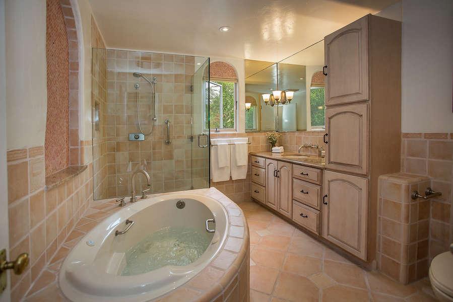 Hall Bathroom with luxurious spa tub