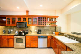 The kitchen has modern appliances