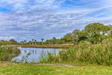 This cottage has a great backyard with lagoon and golf course views!