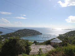 View of Great Cruz Bay and the Caribbean Sea from Private Courtyard