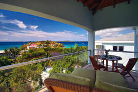 Master bedroom covered patio with views of the Caribbean Sea