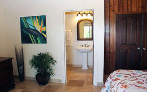 View into bathroom from bedroom