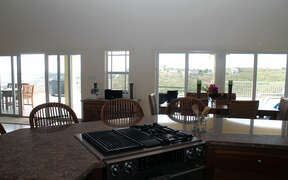 View of large deck from kitchen