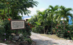 Tre Scalini Entrance lined with palms and natural rock