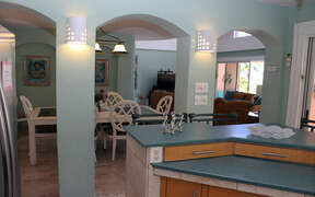 View into dining area with archways