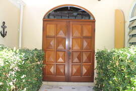 Front entrance with custom mahogany doors