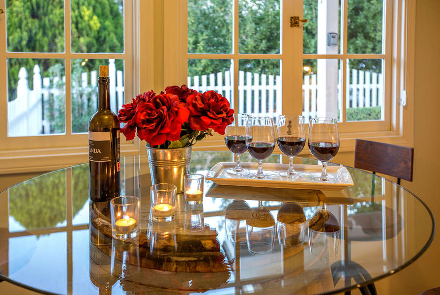 Wine barrel table with garden views