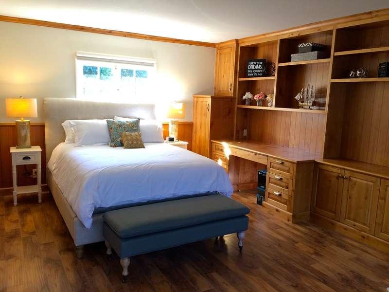 Downstairs bedroom has beautiful built-ins!