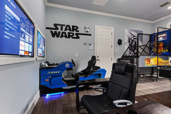 Game room complete with gaming chairs