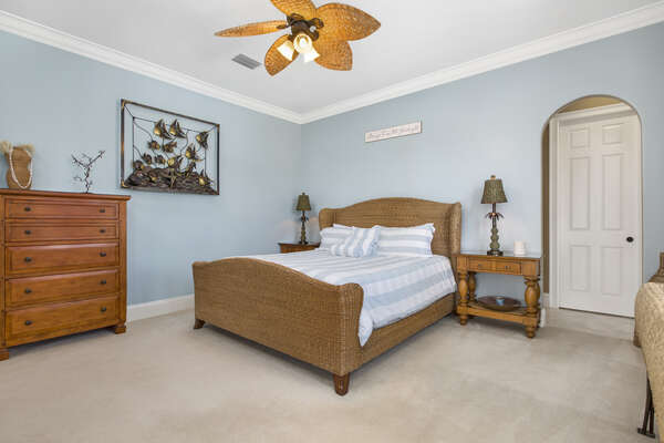 The 3rd master bedroom is also located on the first floor and has a luxurious king size bed, huge walk in wardrobe