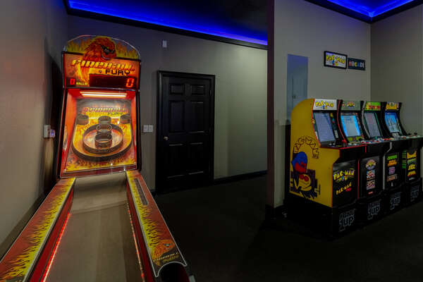 Challenge your family members to shoot hoops in basketball, skeeball or other arcade games