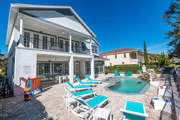 Relax poolside and soak up the Florida sunshine by your very own private pool and spillover spa