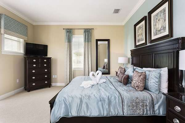 Master Bedroom With King Size Bed, Private Balcony, And En Suite Bathroom