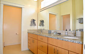 The second bathroom features a double vanity with plenty of room to be comfortable.