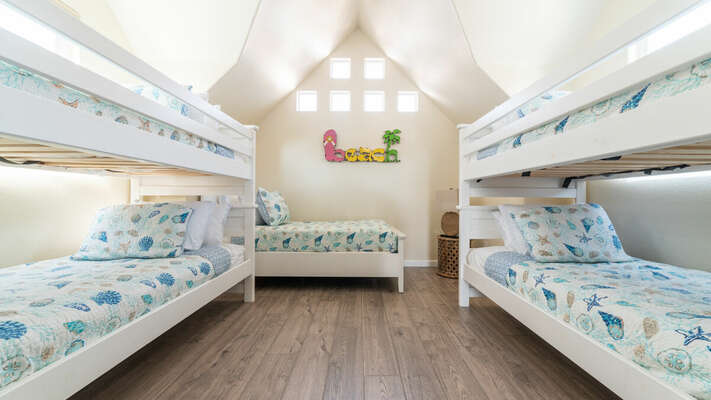 Bunk Bedroom with 2 Twin/Twin Bunks & 1 Twin Bed - 3rd Floor