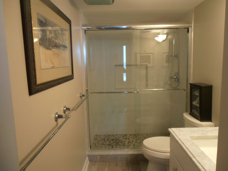 Master bath with tile and marble.  Walk-in shower.