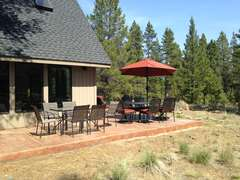 Patio with comfortable furniture and plenty of seating - great views!