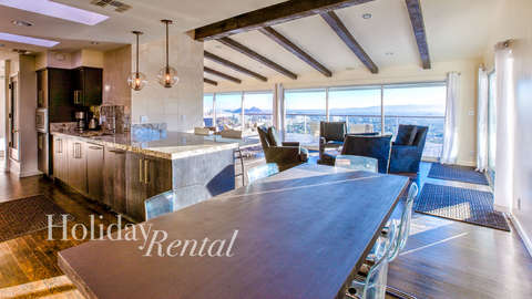 Dining table with city views