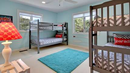 The kids will love the bunk room that sleeps 4! There is a full bath near by.