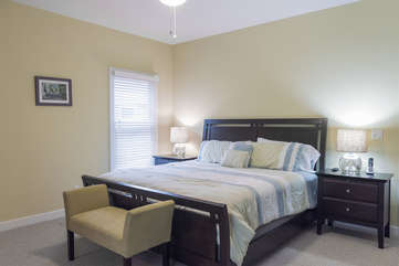 The 2nd bedroom can serve as another master suite. It has a king bed and HDTV.
