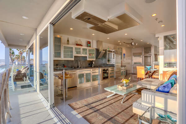 Living, kitchen area opens up to views of Mission Beach