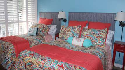 The 2nd bedroom has a full bed and twin bed and sleeps 3.