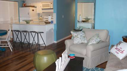 The living area opens into the kitchen and dining room.
