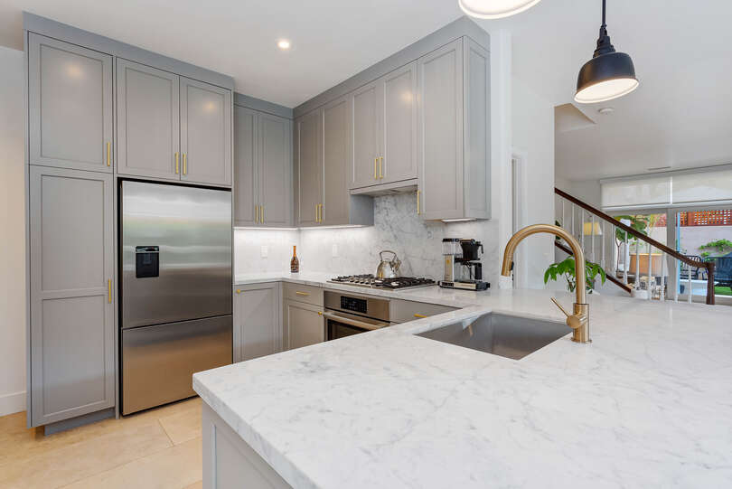 The kitchen is space efficient and up-to-date