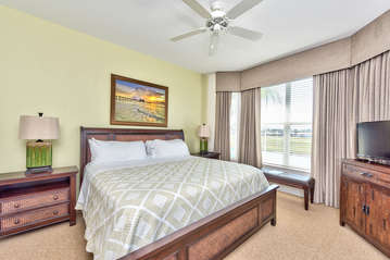 Master Bedroom with Private Entrance To Lanai; HDTV; Golf Course View;