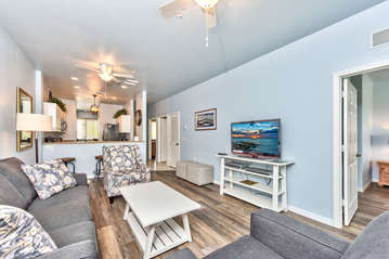 Living Room with Brand New Furniture and Flat Screen HDTV; Remodeled in 2018!