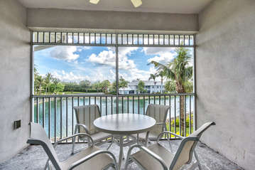 Private Lanai with Table and Seating; Fan; Overlooking Scenic Lake in Community!