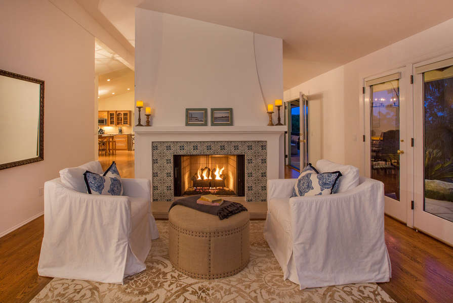 Cozy seating by the fireplace