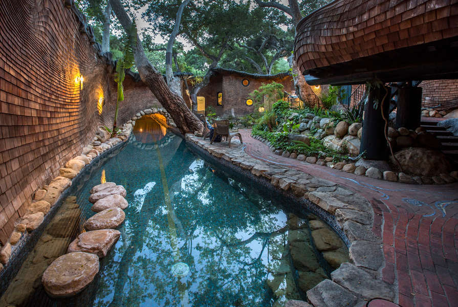 The lap pool flows into the