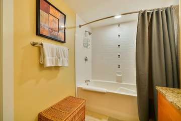 Shower and Tub, Complimentary Organic Body wash and Shampoo Provided