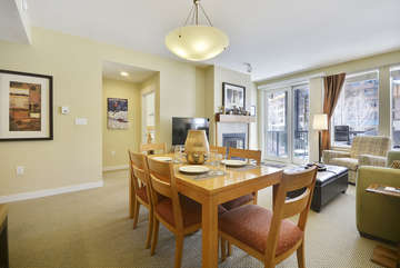 -Chair Dining Table and View of Spacious Living Room
