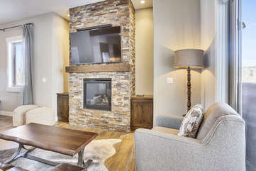 Custom stone fireplace.
