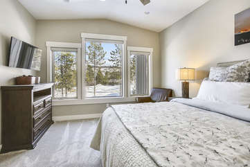 Large master suite HDTV, vaulted ceiling and fantastic views.