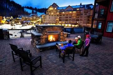 Beautiful 2 sided outdoor gas fireplace wih amazing views