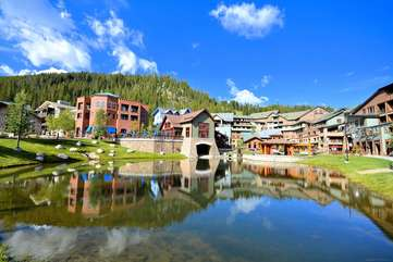 Beautiful resort village and pond with dining and shopping