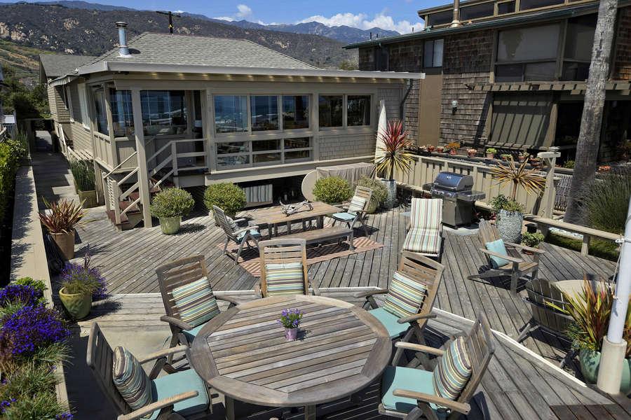 Enjoy mountain views from the oceanfront deck